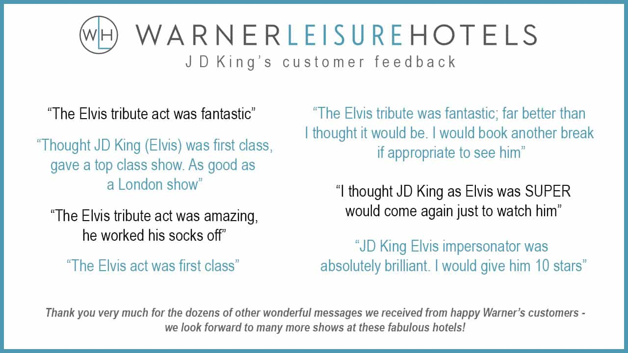 JD King Warner Leisure Hotels customer reviews
